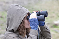 Woman w binoculars birding in winter © Nick DeCondio