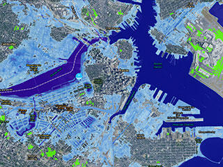 Projected sea level rise in Boston © NOAA