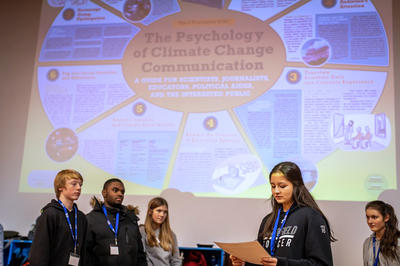 Students presenting at a Youth Climate Summit © Phil Doyle