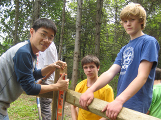 Boy scouts helping with a fence at Drumlin Farm Wildlife Sanctuary