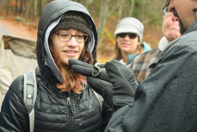 Field Naturalist Certificate participant looking at a salamander
