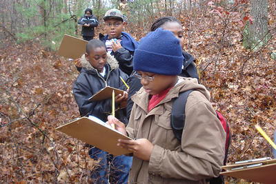 Grade 5 students from Philbrick Elementary School exploring Blue Hills Trailside Museum