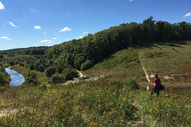 Exploring the hills at Tidmarsh (Photo: Kristin Foresto)