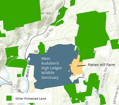 Map of 67-acre Patten Hill property and other protected land