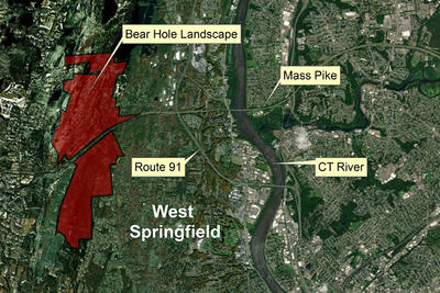 Map of Bear Hole's location in West Springfield