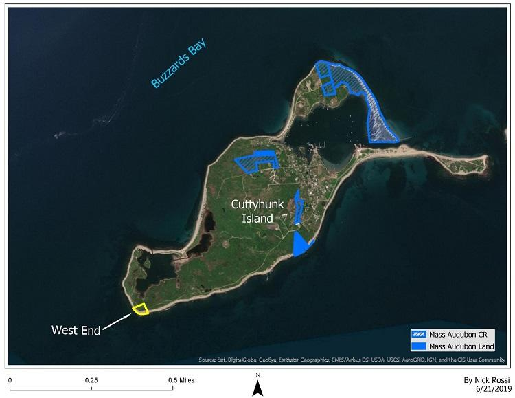 Map of protected areas on Cuttyhunk Island