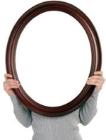Mirror in front of a person's head.