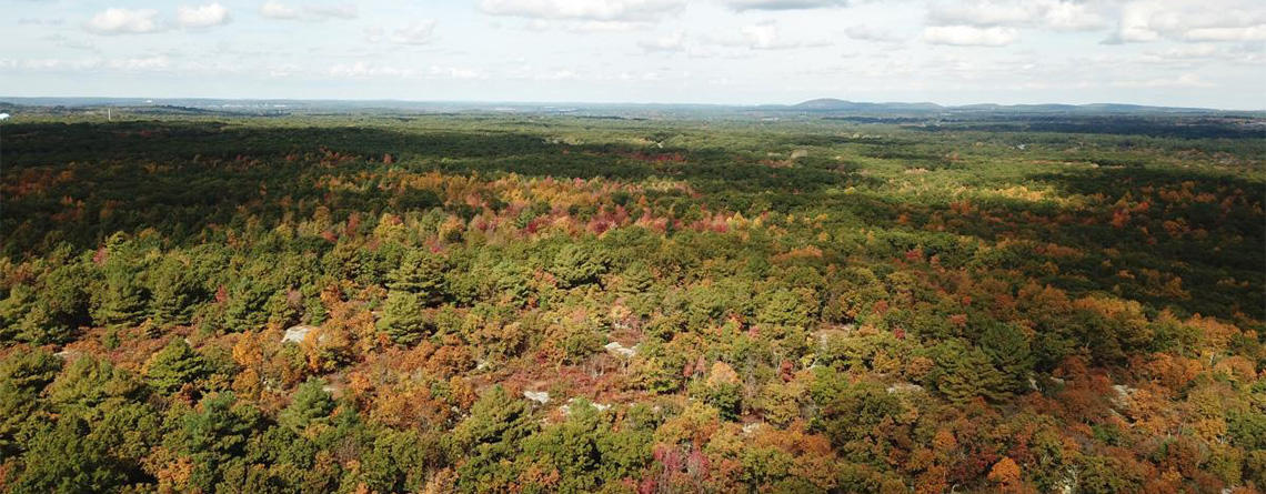 Aerial view of Rattlesnake Hill in Sharon © Linda Orel/Sharon Friends of Conservation