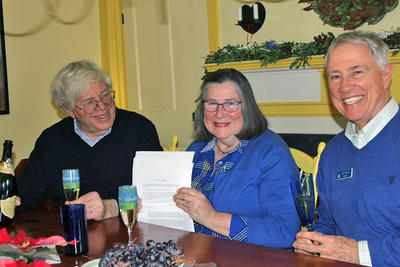 Reinier & Nancy Beeuwkes celebrate the deed signing with Gary Clayton