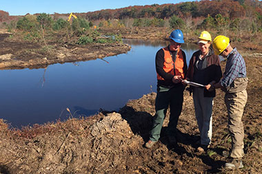 Tidmarsh channel restoration work in progress © MA Division of Ecological Restoration
