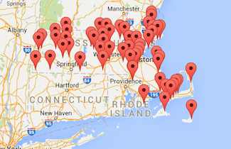 Google map of Massachusetts