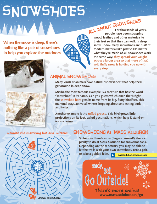 Snowshoeing activity page from Mass Audubon