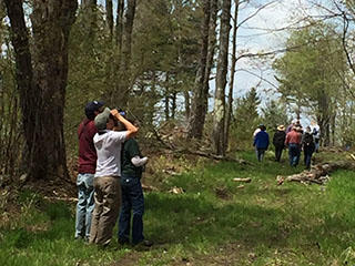 Landowner giving tour of managed forest land © MA Woodlands Institute
