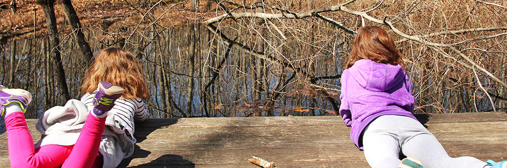 Two girls on vernal pool viewing platform at Broadmoor