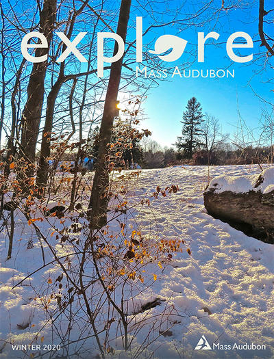 "Cover of Winter 2020 issue of ""Explore"" (Wachusett Meadow in winter © Julie Mankowsky)"