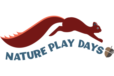 "Illustration of squirrel hopping over the words ""Nature Play Days"""