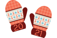 Illustration of red mittens for Winter Recess 2021
