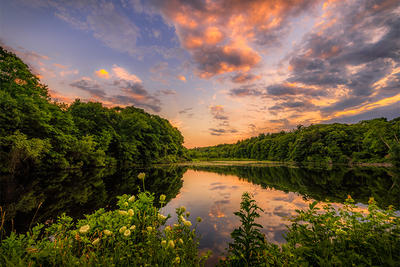 Sunset over river in Sharon MA © Lynda Appel