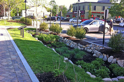 Low Impact Development (LID) features in a MetroWest shopping plaza © Trisha Garrigan