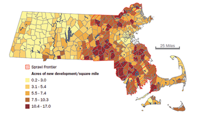 Sprawl frontier map, Massachusetts