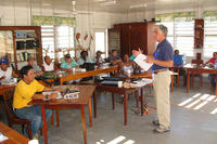 Bill Gette lecturing at Hill Bank in Belize by Dave Larson