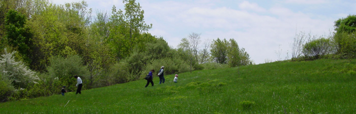 Hiking up the drumlin at Drumlin Farm Wildlife Sanctuary