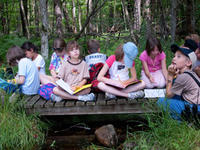 School group at Wachusett Meadow Wildlife Sanctuary