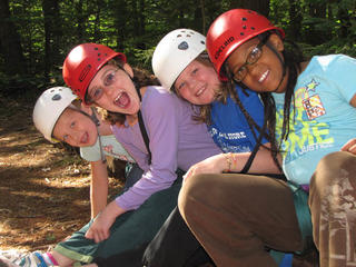 Wildwood campers at rock climbing
