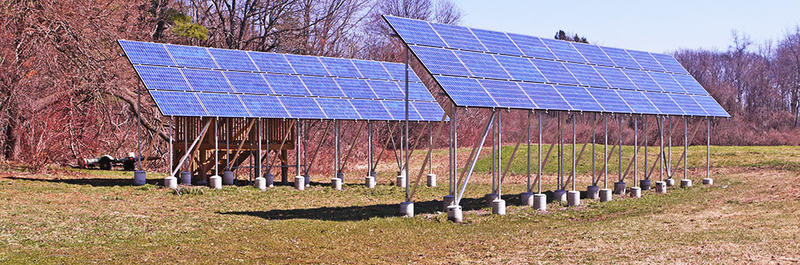 Ground-mounted solar arrays at Arcadia Wildlife Sanctuary