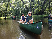 campers canoeing at Mass Audubon Arcadia Wildlife Sanctuary