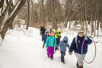 Kids outside in snow for a winter school vacation program at Arcadia Wildlife Sanctuary © Phil Doyle