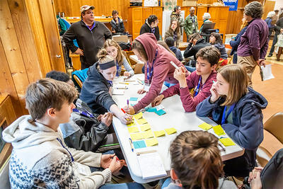 Students working on Action Plans at 2018 Youth Climate Summit © Phil Doyle