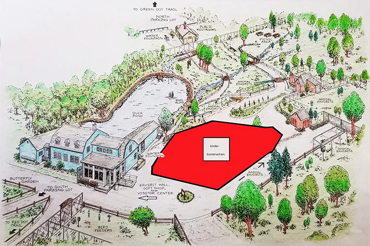 Otter exhibit construction map of Trailside