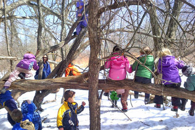 BNC preschoolers in snowy tree