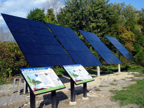 Pole mounted solar arrays at The Boston Nature Center