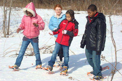 Kids snowshoeing at BNC