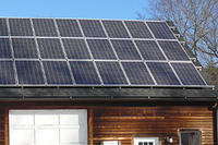 Solar panels on garage roof