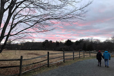 Winter sunset on a trail at Broadmoor