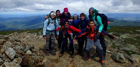 Drumlin adventure campers at summit of hike