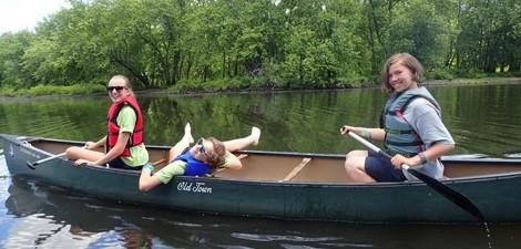 Drumlin campers hanging out in canoe