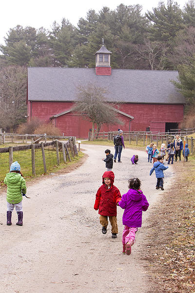 Drumlin preschoolers playing in farmyard in fall