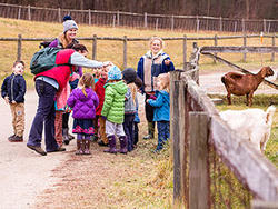Kids and educators with Drumlin goats