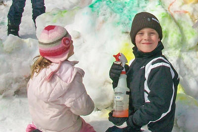 Snow coloring during February Vacation at Drumlin Farm