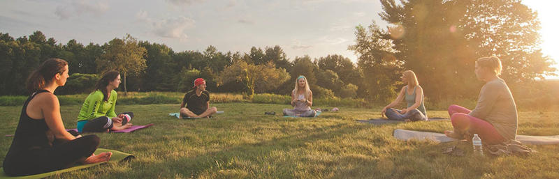 Sunset yoga at Drumlin Farm