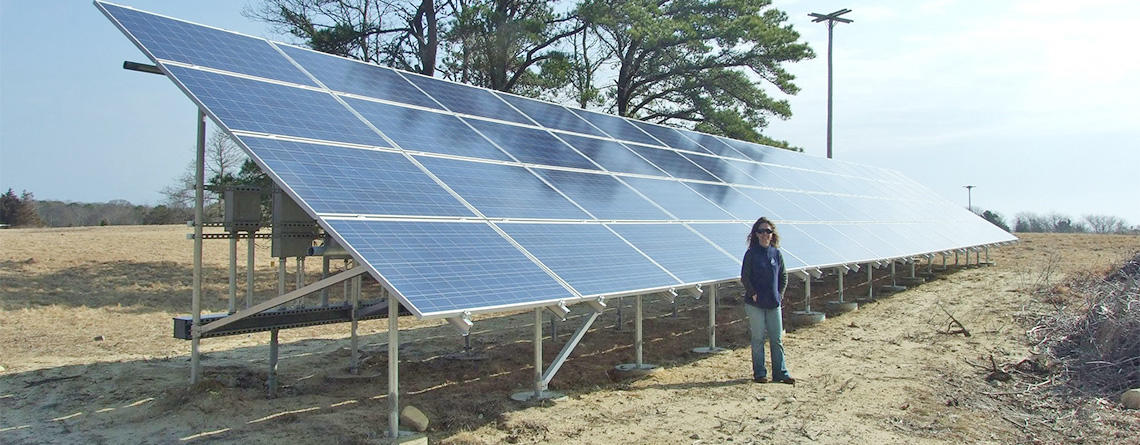Ground mounted solar array at Felix Neck Wildlife Sanctuary