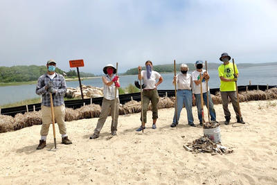 A group of volunteers clearing debris from the beach at Great Neck Wildlife Sanctuary following the removal of the boathouse.