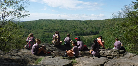 Habitat campers at top of a hike
