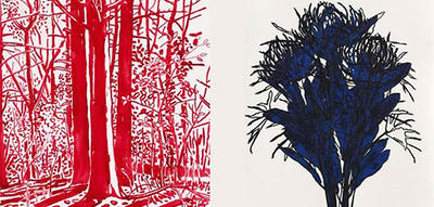 Works in red and blue ink on paper © Niels Burger & Jill Grimes