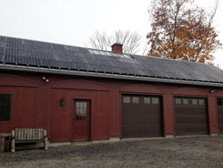 Conservation barn at Ipswich River Wildlife Sanctuary with solar array