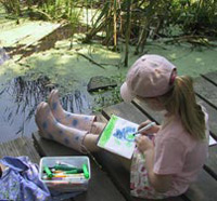 A girl drawing on the marsh boardwalk at Ipswich River Wildlife Sanctuary